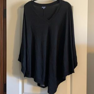 Stylish black poncho cape sweater